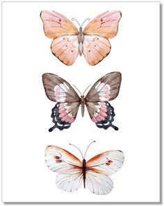 Shop Butterfly Wall Art - Pink Butterflies De at Artsy Sister. Butterfly Drawing, Butterfly Wall Art, Butterfly Painting, Butterfly Watercolor, Pink Butterfly, Watercolor Art, Butterflies, Butterfly Wallpaper Iphone, Wallpaper Backgrounds