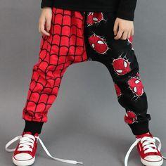 2016 New Spring Autumn Boys Pants Clothes Patchwork Loose Mid Elastic Waist Full Length Harem Pants 3-7 years old Boys Pants