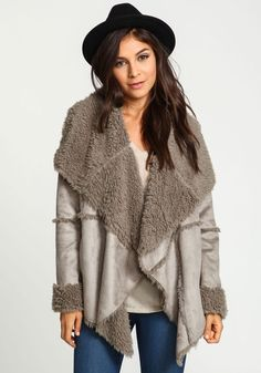 I love this! Ive been searching for a draped faux shearling jacket....this may be it.