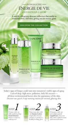 #Lancome USA - INTRODUCING ÉNERGIE DE VIE - ANTI-FATIGUE & GLOW - DISCOVER THE COLLECTION - #newsletter sent july 29, 2016