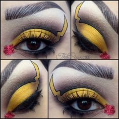 Pikachu inspired makeup for the 20th Pokémon Anniversary Wearing @espionage_cosmetics tea&crumpets and leviathan glitter. @nyxcosmetics highlight shade in cream. @sugarpill butter cupcake and sinnocent top false lashes. @katvondbeauty shadow box and deadhead eyeshadows and tattoo liner in trooper. @urbandecaycosmetics perversion liner. @rockalash bottom lash in style B. Brows created with @anastasiabeverlyhills dipbrow in dark brown and ebony. #makeup #cosmetics #maquillaje #colorful…