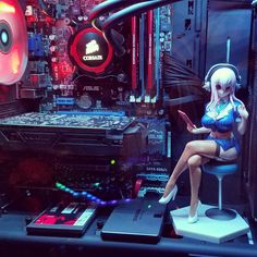 anyone here ever put toys/figures inside their PC case? | ResetEra Pc Gaming Setup, Gaming Pcs, Computer Setup, Pc Setup, Desk Setup, Inside Pc, Game Room Decor, Character Poses, Gamer Room