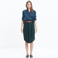 I actually own both items in this photo, but pinning for the skirt, which I wear a lot with the slightly more slim fitting flannel boyshirt I pinned separately. I pair them with a thick, brown leather belt that ties in the front.