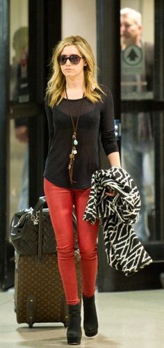 Ashley Tisdale - loving the coat and the jeans together.