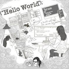 """좋아요 97개, 댓글 3개 - Instagram의 지구대장(@earth.captain.drawing)님: """"I love my work . #helloworld #javascript #ilikechicken #ilovemyjob #ilovemywork #procreate…"""" Web Development, Drawing, Memes, Meme, Sketches, Drawings, Draw"""