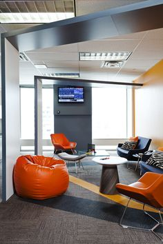 Bell Media's Toronto Office- Mayhew #seatingarea #design #moderndesign http://www.ironageoffice.com