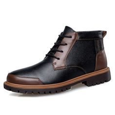 sports shoes 34b60 e68ee High-quality Big Size Men Leather Lace Up Vintage Retro Casual High Top  Boots… Botas ExoticasHombres ...