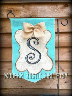 A personal favorite from my Etsy shop https://www.etsy.com/listing/289097343/monogram-burlap-garden-flag-tiffany-blue
