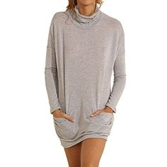 Eliacher Womens Casual Grey Long Sleeve Pockets Knitting Dress 6463 L * For more information, visit image link.