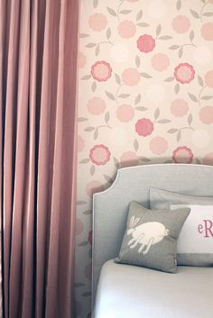 color palette, wallpaper, monogrammed pillows. adorbs