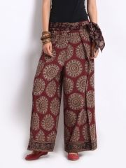 Image of Fabindia Women Red & Beige Kalamkari Printed Palazzo Pants