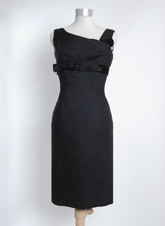 Late 1950's Harvey Berin Linen and Silk Satin Cocktail Dress