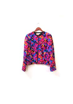 ON SALE Vintage 90s GEO Colorful Silk Print by LapineOursVintage, $58.00
