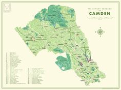 Shop online for Camden Retro Map print by Mike Hall at Of Cabbages and Kings gallery, London