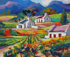 Isabel Le Roux Landscape Art, Landscape Paintings, Bright Art, South African Artists, Country Art, Naive Art, Colorful Paintings, Toscana, Art Google