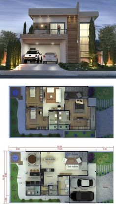 3 Bedrooms Home Design Meters - Home Design with Plansearch House Plans Mansion, Sims House Plans, House Layout Plans, House Layouts, Best Modern House Design, Modern Exterior House Designs, Modern Architecture House, Architecture Diagrams, Architecture Portfolio