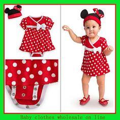 Minnie mouse design romper girl bodysuit+girl hat infant cotton girls ski suit newborn baby girl minnie mouse tutu US $26.90