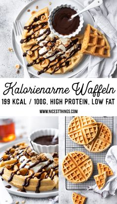 Kalorienarme Waffeln / Protein Waffeln, fettarm & Low Carb - Nicest Things Low calorie waffles / protein waffles, low fat & low carb - nicest things recipes for breakfast Low Carb Desserts, Healthy Dessert Recipes, Health Desserts, Keto Snacks, Easy Desserts, Smoothie Recipes, Low Carb Recipes, Smoothies, Smoothie Bowl
