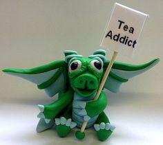 Polymer Clay Messenger Dragon  Tea Addict by MistsofAzura on Etsy, £11.99