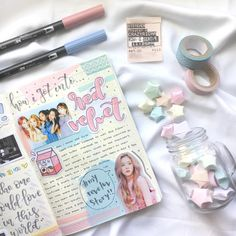 "kaycee on Instagram: ""hi lovely!! i'm so happy to be fiNaLLy pOstiNg my spread for week one of #myreveluvstory with @cactuswonwoo & @yooniebujo !! we decided to…"" Bullet Journal Notes, Bullet Journal Spread, Bullet Journal Ideas Pages, Journal Entries, Bullet Journal Inspiration, Music Journal, Book Journal, Tittle Ideas, Cute Scrapbooks"