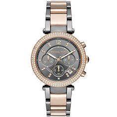 Michael Kors MK6440 Womens Parker TwoTone Rose Gold Gunmetal Chronograph Watch *** Be sure to check out this awesome product. (This is an affiliate link)