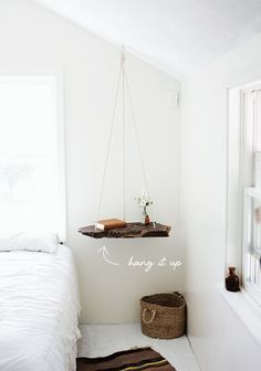 float a DIY wood shelf as an accent or bedside table // coco kelley