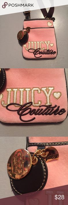 Juicy Couture cross body velvet purse Stylish juicy couture pink cross body purse. Brown straps and brown juicy detailing. Pink velvet outside. One pocket on front with a magnetic close. One smaller pocket on the side of the inside. Juicy Couture Bags Crossbody Bags