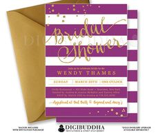 PURPLE & GOLD BRIDAL Shower Invitation by digibuddhaPaperie