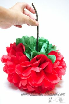 Haniela's: ~Tissue Paper Apple Pom Pom~  Making these for my classroom and hang them from the ceiling or even windows..so cute for back to school!!