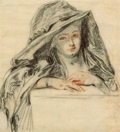 Jean-Antoine Watteau, 'Woman Wearing a Mantle over her Head and Shoulders' (detail), c.1718-19.