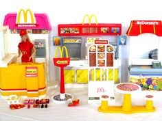 Barbie McDonald's Play Sets from 1993 and 2003 with Barbie in McDonald's Uniform - I bought this on E-Bay.