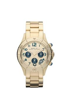 40MM Rock Chrono watch with stone index detailing and metal bracelet by Marc Jacobs. Love it!