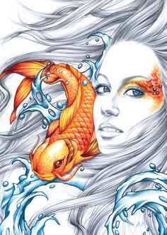 Hey, I found this really awesome Etsy listing at https://www.etsy.com/listing/201726807/koi-fish-and-mermaid-art-spirit-of-good