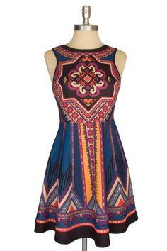 Stitch fix: love the fit and flare style and colors of this dress. The cool and warm colors look beautiful together--some of my favorite colors are in this pattern. Warm Colors, Skater Dress, African Fashion, Fit And Flare, Stitch Fix, Favorite Color, Vibrant, Costumes, Summer Dresses