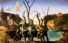 """Swans Reflecting Elephants by Salvador Dalí, c. 1937. The Spanish surrealist painter (oil on canvas) illustrated his """"paranoia-critical method"""" through double images. He was able to show that there is definitely something more in art especially if a person will just look deeper into what Cubism, Futurism, and metaphysical creations can blatantly give."""