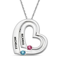 Zales Couples Simulated Birthstone Tilted Double Heart Pendant in Sterling Silver (2 Stones and Names) 3Ye5DslbM6