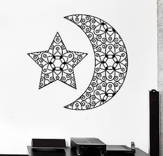 Wall Decal Moon Star Space Ornament Tribal Mural Vinyl Decal (z3192)