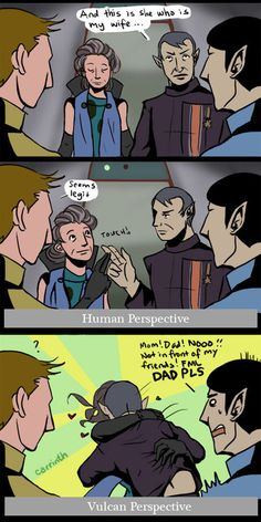 For real though. To a Vulcan, that touch of the fingers is so intimate. Ah, Vulcan romance....