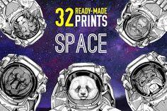 Astronaut animals T-shirt pack by Art Loft on @creativemarket