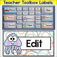 Ocean Theme Teacher Toolbox Labels: Create a fun teacher toolbox with these cute Under the Sea Theme editable labels. These labels are designed to fit the Stack-on 22 drawer and 39 drawer organizers from Lowes. This product includes two types of files.