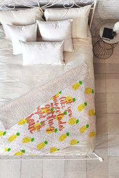 Hello Sayang Pineapple Pina Coladas Fleece Throw Blanket   DENY Designs Home Accessories