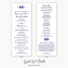Crab Monogram Nautical Style Wedding Programs  by KNOTSandPEARLS  | www.knotsandpearls.com