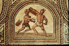 "Gladiator mosaic floor, 3rd century AD, Römerhalle, Bad Kreuznach, Germany. Gladiators (named after the Roman sword called the gladius) were mostly unfree individuals (condemned criminals, prisoners of war, slaves). All gladiators swore a solemn oath (sacramentum gladiatorium), similar to that sworn by the legionary but much more dire: ""I will endure to be burned, to be bound, to be beaten, and to be killed by the sword"" (uri, vinciri, verberari, ferroque necari, Petronius Satyricon 117)."