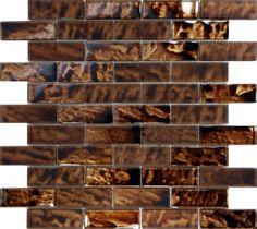 SAMPLE- Metallic Brown Glass Mosaic Tile Kitchen Wall Floor Sink Backsplash Spa