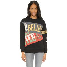 Marc by Marc Jacobs United Banner Sweatshirt ($230) ❤ liked on Polyvore featuring tops, hoodies, sweatshirts, black multi, crew neck sweat shirt, sweat shirts, black sweat shirt, crewneck sweatshirt and long sleeve sweatshirt