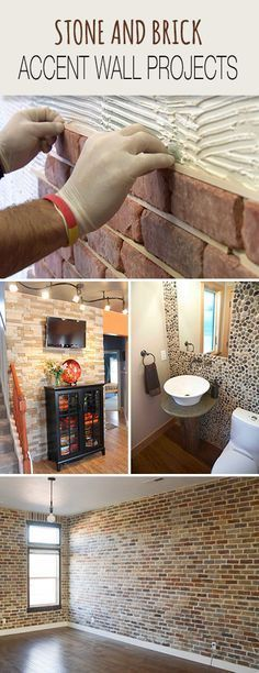 Stone and Brick Accent Wall Projects • Tips, Ideas & Tutorials! • Explore our blog for more great DIY projects and home decorating ideas!