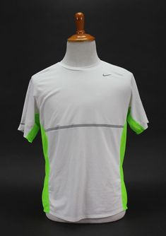 af4ff907d2a33 Nike Running Dri-Fit Short Sleeve Shirt White Green Size Large Top Tee Shirt  Ath