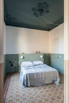 Family Apartment, Apartment Design, Home Interior, Interior Architecture, Interior Design, Casa Milano, Mint Walls, Barcelona Apartment, Master Bedroom
