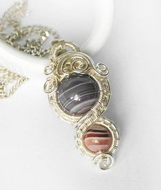 natural sterling silver wire wrap pendant with natural botswana agate gemstone / jpwire