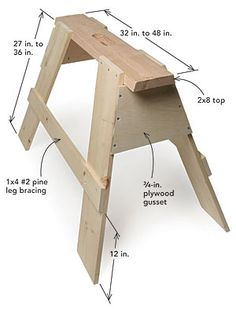 6 Whole Tips AND Tricks: Woodworking Garden woodworking photography how to make.Wood Working Diy Woodworking Plans woodworking tools for sale.Woodworking For Beginners Wall Decor. Sawhorse Plans, Woodworking Bench Plans, Learn Woodworking, Woodworking Patterns, Wood Plans, Popular Woodworking, Woodworking Furniture, Custom Woodworking, Diy Furniture